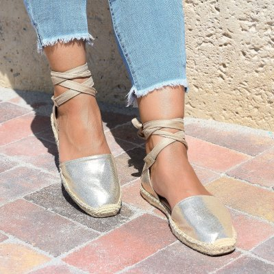 Lace up Gold Espadrille Flats