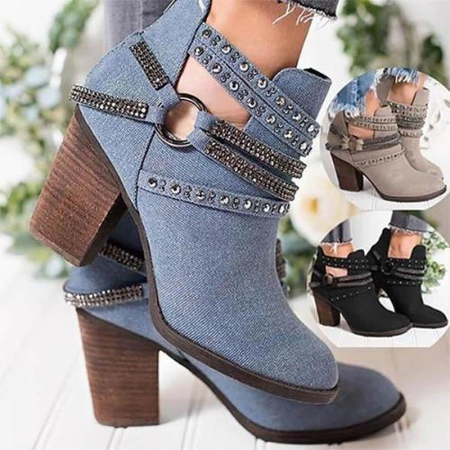 Elegant Point Toe Rhinestone Ankle Boots