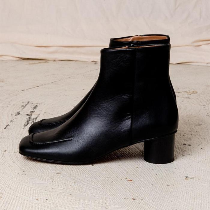Women's casual mid-heel square simple short boots