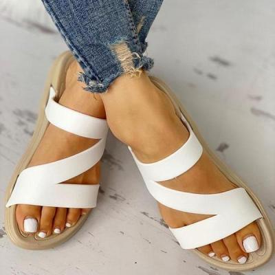 Women Z Pattern Open Toe Flat Sandals