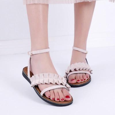 Summer New Women's Shoes Fashion Flat Bottom Round Buckle Shoes Soft Bottom Sandals Women