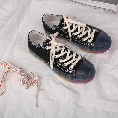 Transparent rainbow canvas shoes women new version shoes women