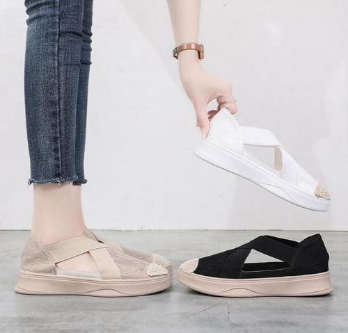Platform Woman Summer Sandal Low Fashion Retro Sewing Mesh Flats Elastic Bandage