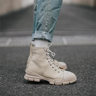 Men's round head high-cut tooling boots