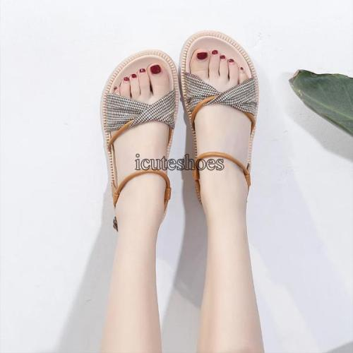 2020 Summer New Sandals Women's Chunky Bottom Simple Open Toe Gladiator Sandals