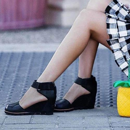 Women's PU Peep Toe Zipper High Wedge Heel Sandals