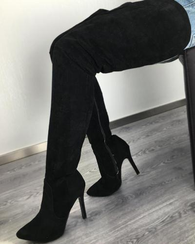 Black High Heeled Thigh High Boots