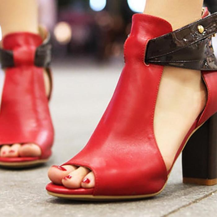 Summer Peep Toe Sexy Color Block Cutout Sky-High Women Sandals