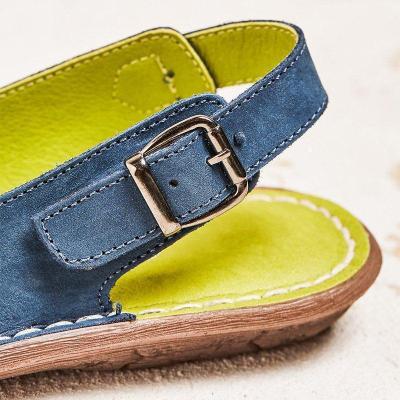 Women Flower Trim Adjustable Buckle Soft Slip On Casual Flats