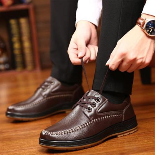 Mens Classic Casual Lace-up Round Toe Flat Shoes