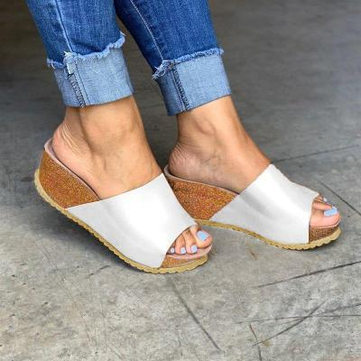 Fashion Style Peep Toe Slip-On Wedges Sandals