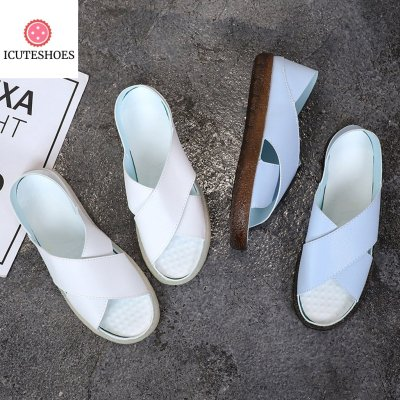 Women Summer Casual Shoes Peep Toe Slip On Vintage Sandal