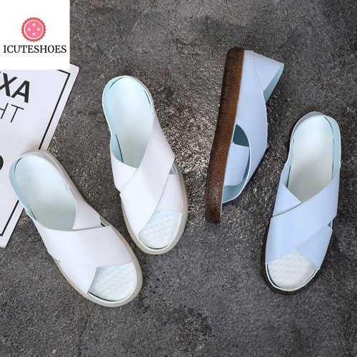 Women Summer Casual Shoes Peep Toe Slip On Vintage Sandal