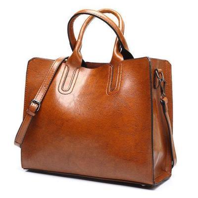 Vintage Oil Wax PU Leather Handbag Large Capacity Crossbody Bag