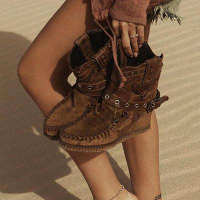 Boho Style Buckle Strap Winter Ankle Suede Boots