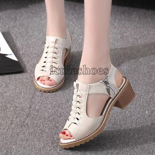Fish Mouth High Heels Chunky Sandals for Women Femme Platform