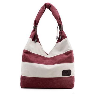 Canvas Stripe Tote Bag Shopping Shoulder Bag