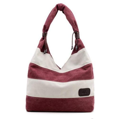 Canvas Stripe Tote Bag Shopping Shoulder Bag
