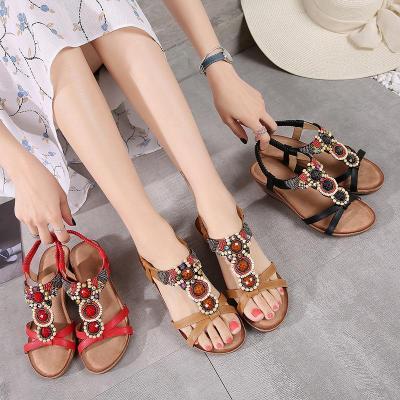 Spring New Sandals Retro Slope Heel Flower Round Head Women's Shoes Sandals