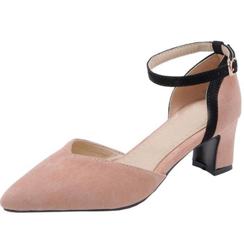 Summer Pointed Toe Chunky Heel Shoes