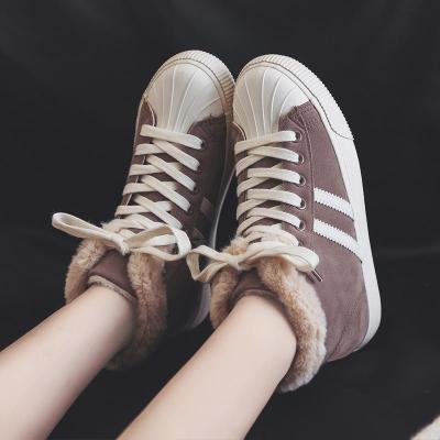 Womens Faux-fur Warm Flat Ankle Sneakers