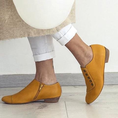 Women's Loafers Zipper Low Heel Loafers