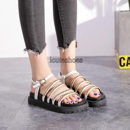 Fashion Chain Bottom Gladiator Sandals 2020 New Summer Non-slip Women's Sandals
