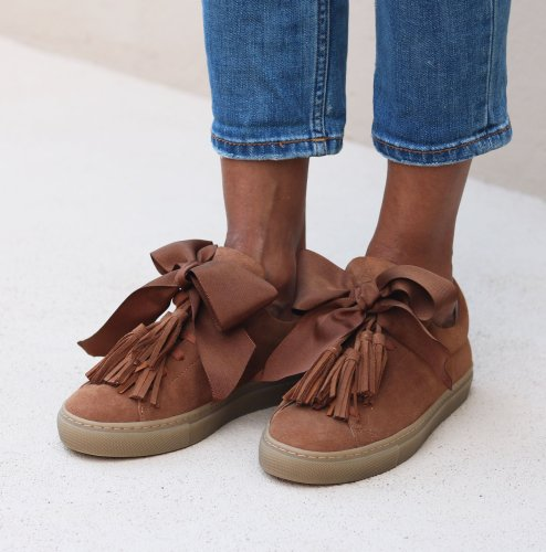 Women Suede Bow Sneakers Slip On Casual Shoes