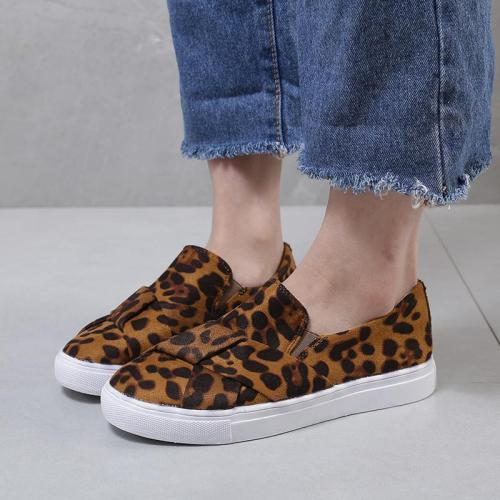 Leopard Print Non-Lace Slip-On Casual Flats
