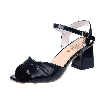 Sandals Women's Summer Comfortable Middle Heel Chunky Heel Shoes Word Buckle Fashion