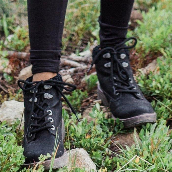 Casual Knited Lace-up Ankle Boots