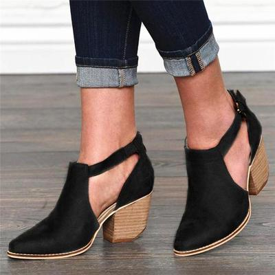 Adjustable Buckle Booties Ankle Boots