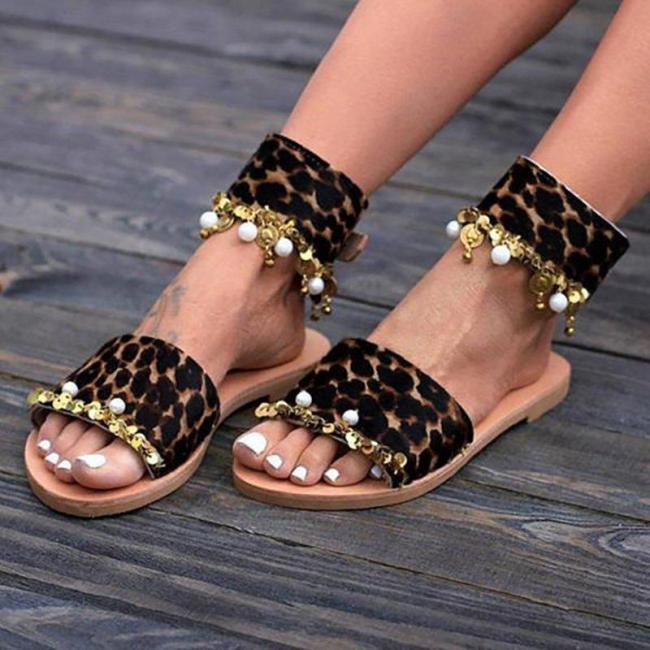 Women Flocking Sequin Sandals Buckle  Shoes