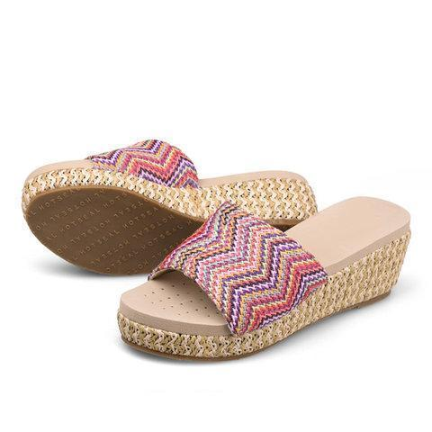 Daily Wedge Heel Open Toe Holiday Slippers