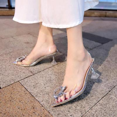 Transparent High Heels Sexy Pointed Toe Slip-on Wedding Party Fashion Shoes
