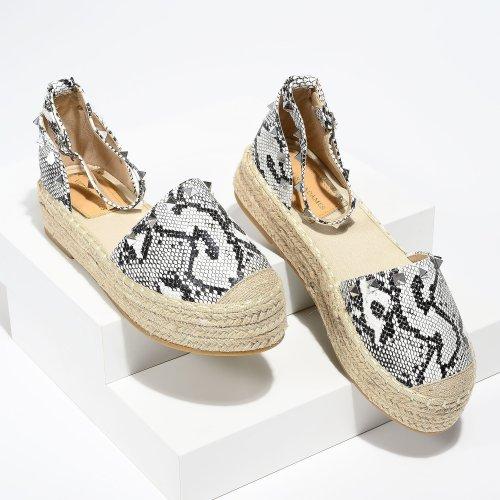 Beverly Studded White Snake Espadrilles