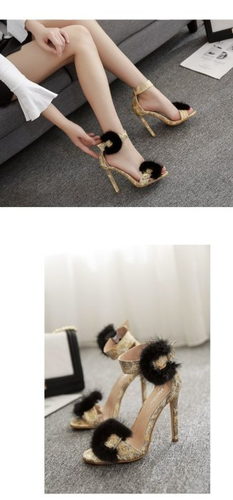 Summer Female One Word Buckles Heels Peep-Toe Spell Hollow Gold Sandals