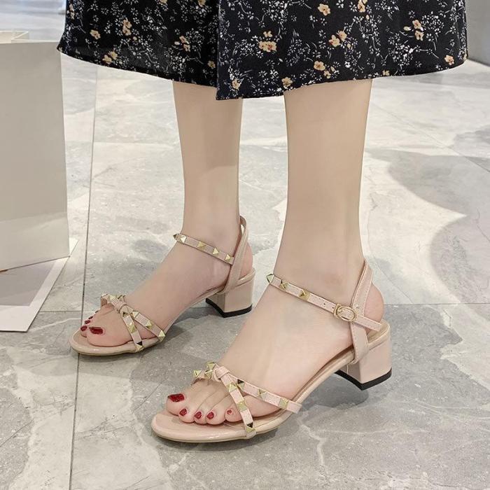 Sandals Women 2020 Summer New Cross Belt Buckle Transparent Dew Toe Thick Heels