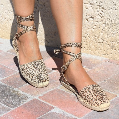 Lace up Cheetah Espadrille Flats