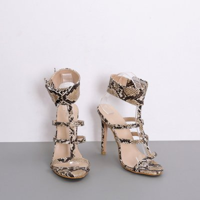 Summer Snake Print High Heel Gladiator Sandals Women Sexy Buckle Casual Shoes