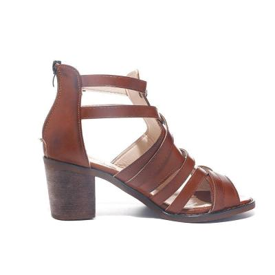Solid Band High Chunky Heels Back Zipped Women Sandals