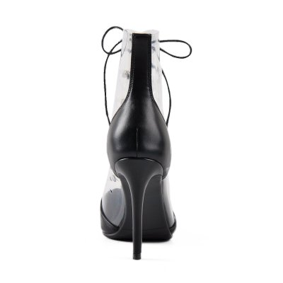 Lace up Transparent Ankle Mid-calf Sandals Boots