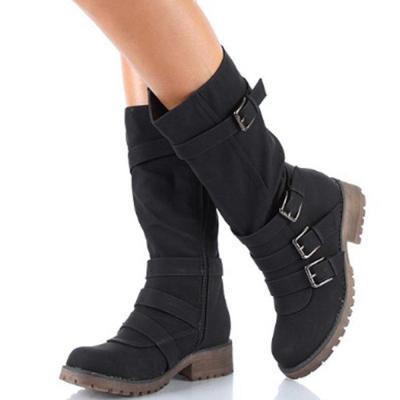Women Buckle Belt Platform Motorcycle Boots