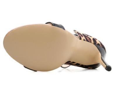 woman gladiator  thin high heels pumps stiletto ladies leopard peep toe