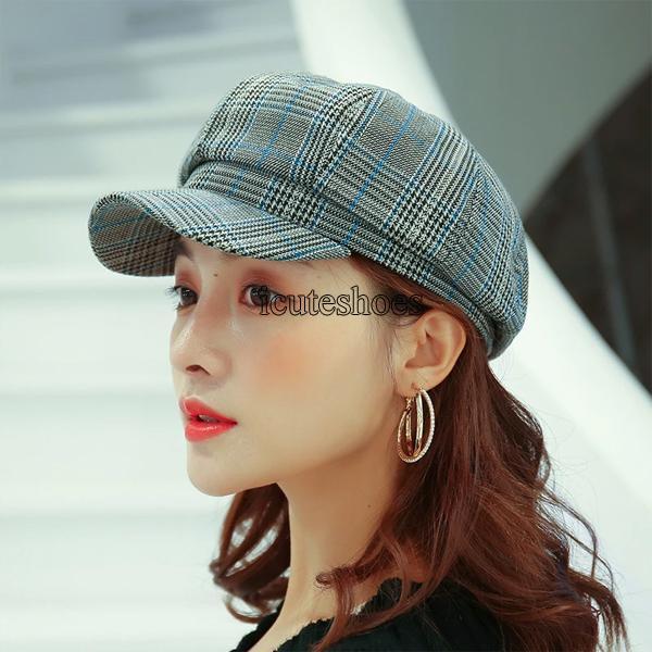 Art Plaid Octagonal Hat Women's British Versatile Japanese Retro Sweet Painter Hat