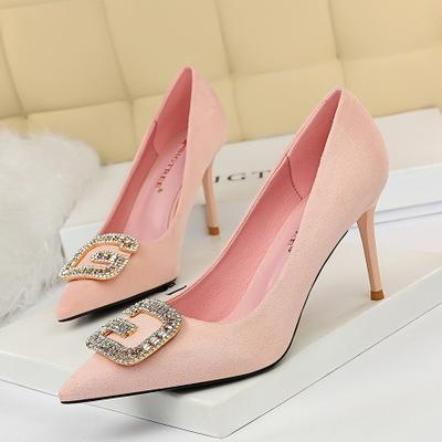 stiletto suede pointed high heel metal rhinestone buckle single shoes