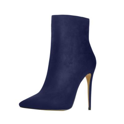 Suede Pointy Toe Stiletto High Heel Ankle Boots