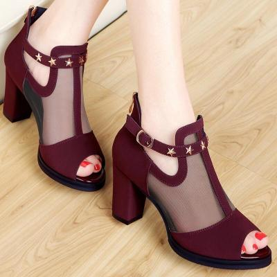 Open Toe Casual High Thick Black Heels Ladies Shoes Rivet Party Wedding Chunky