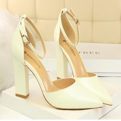 Patent Leather Hollow Pointed Sandal