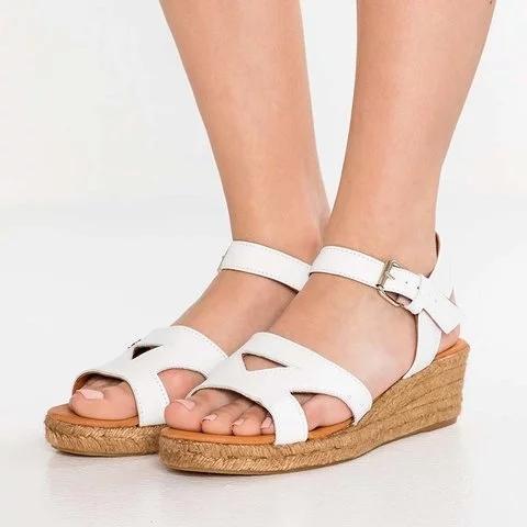 Plus Size Espadrille Peep Toe Wedge Heel Buckle Sandals